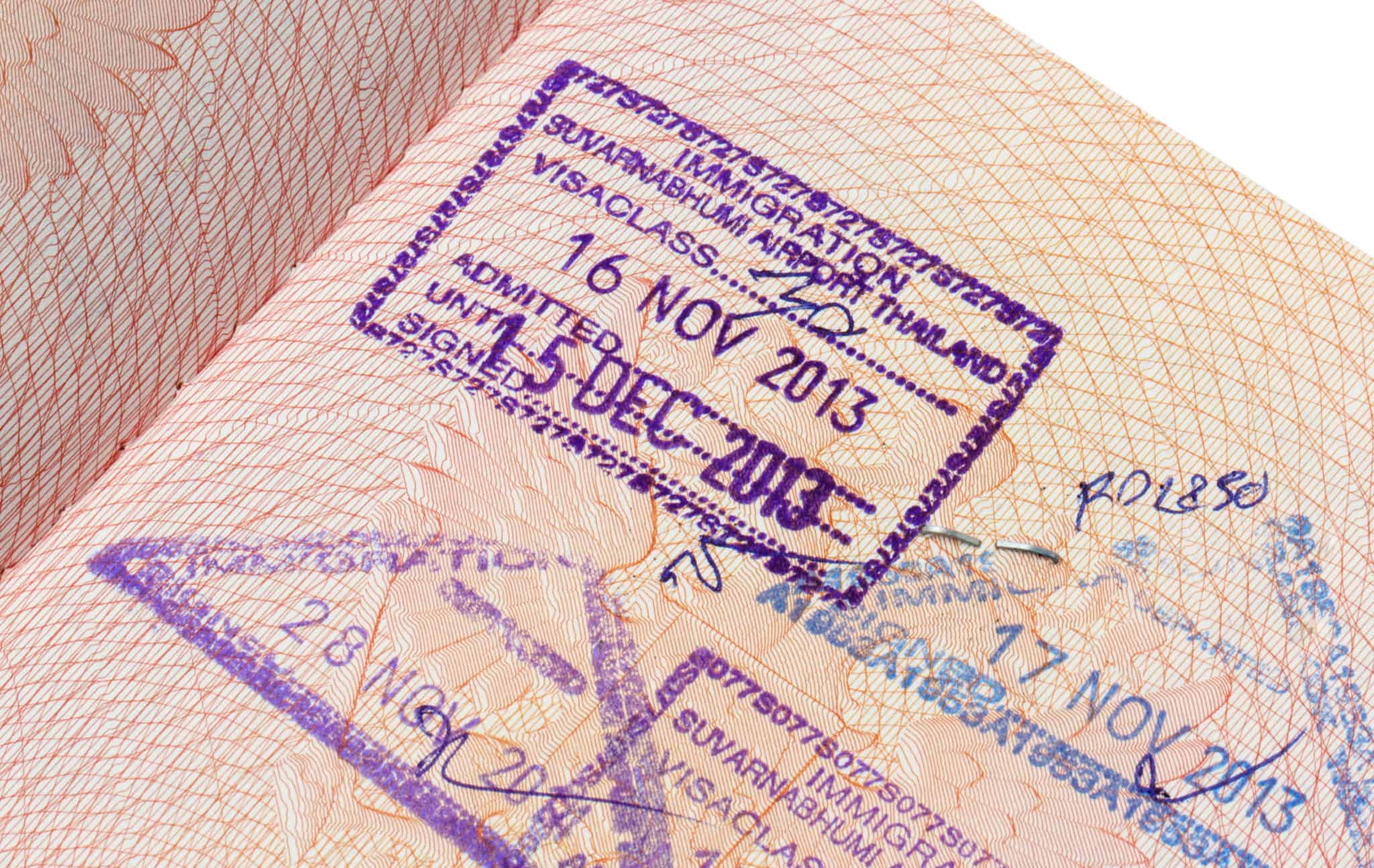 A 30-day exemption Thai immigration visa stamp